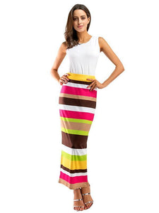 Two Pieces Stripe Sleeveless Beach Dress Maxi Dress