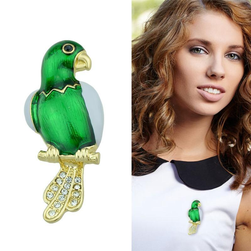 Gem Parrot brooch