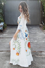 Load image into Gallery viewer, Summer New Arrival Flower embroidery V-neck large Morning glory sleeve dress Goddess dress