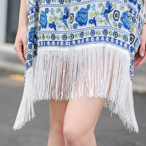2018 Hot Sale Bikini  Print Tassel Cover up