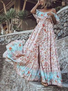 Off-the-shoulder Bohemia Maxi Chiffon Floral Print Dress Beach Style Vacation Dress