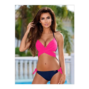 Swimwear Bikinis Solid Color Top With Floral Pant Two Piece Bikini