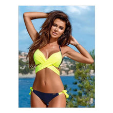 Load image into Gallery viewer, Swimwear Bikinis Solid Color Top With Floral Pant Two Piece Bikini