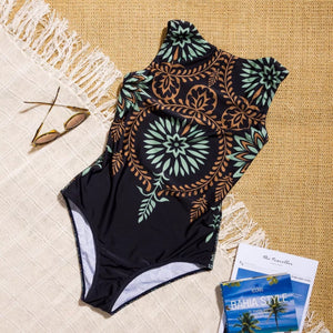 Retro print one-piece women swimsuit Sexy stretch female bodysuit