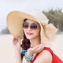 Load image into Gallery viewer, Large Brim Solid Color Floppy Hat Sun Hat Beach Women Hat Foldable Summer UV Protect Travel Casual Hat Female