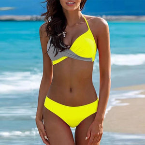 7 Colors Plus Size 3XL Halter Bikini Set Sexy Low Waist Bikini Set Swimwear Halter Top Beachwear