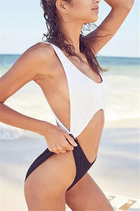 Black & White sexy High Waist One Piece swimwear Monokini