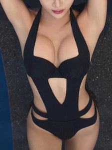 Plus Size Solid Color Black Sexy Special Designed One Piece Monokini