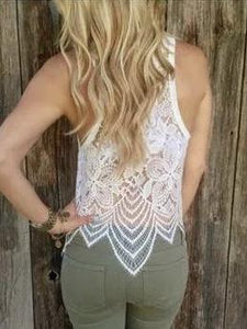 White Sexy See Through Hollow Lace Vest Top