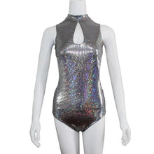 Load image into Gallery viewer, Bling Dazzling Holographic Sequins Backless Bodysuits Sexy One Piece Swimming Suits