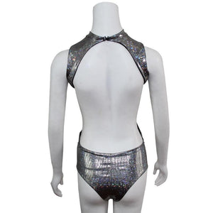 Bling Dazzling Holographic Sequins Backless Bodysuits Sexy One Piece Swimming Suits