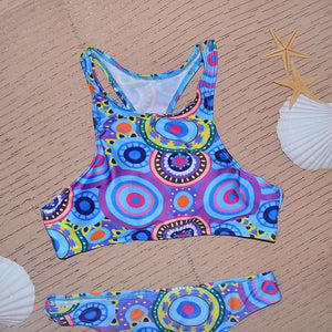 Totem Circle Print Bikini Patch Swimwear Beach Swimsuit Bathing Suits Bikini