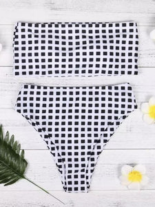 Bikini Set Swimwear Push-Up Padded Plaid Bra Swimsuit Beachwear strapless bikini