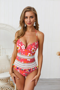 Bombom tassel hanging neck strap backless deep V one-piece swimming
