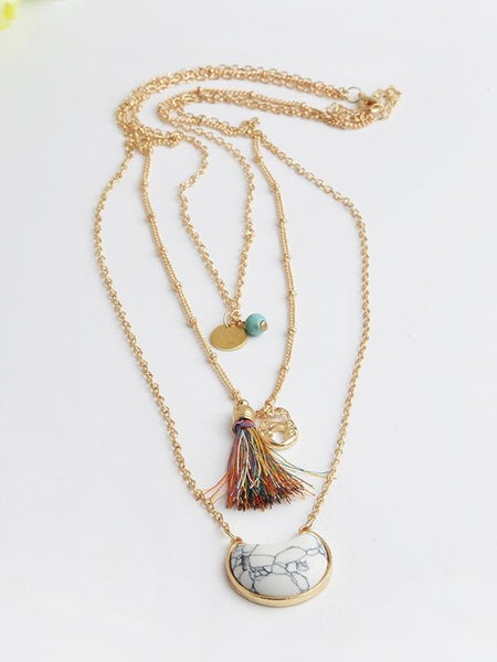 MULTILAYER STONE PENDANT Colorful Bohemia Style Tassel Necklace