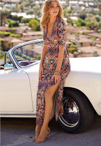 V-Neck Boho Print Large Swing Long Dress