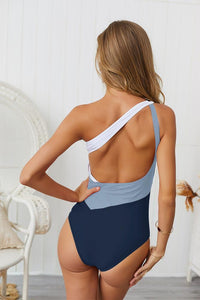 Color Contract One Shoulder Style One Piece Swimsuit
