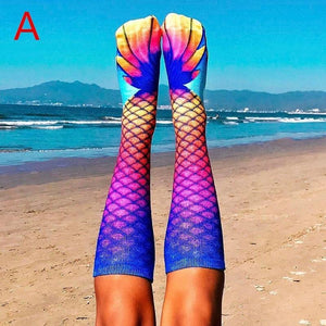 Novelty 3D Print High Knee Beach Mermaid Stockings