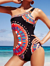 Load image into Gallery viewer, Print Triangle Piece Creative Single Shoulder Swimsuit