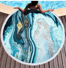 Load image into Gallery viewer, Round Colorful Quicksand Pattern Microfiber Shower Bath Towel Beach Mat