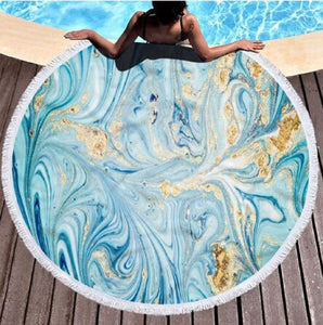 Round Colorful Quicksand Pattern Microfiber Shower Bath Towel Beach Mat