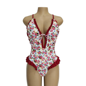 Sweet Print Floral Ins Style One Piece Swimsuit