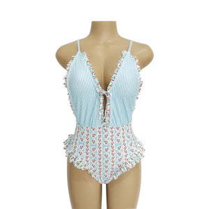 Beach Sweet Print Floral Ins Style One Piece Swimsuit