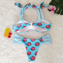 Load image into Gallery viewer, Resort Style Hang Neck Bow Color Block Bikini