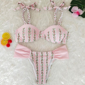 Resort Style Hang Neck Bow Color Block Bikini Set