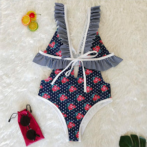 Deep V Ruffled Neck Print Ins Style One Piece Swimsuit