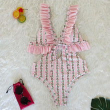 Load image into Gallery viewer, Deep V Ruffled Neck Print Ins Style One Piece Swimsuit