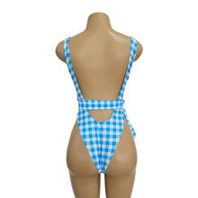 Load image into Gallery viewer, Blue Plaid Ins Style One Piece Swimsuit