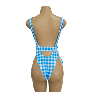 Blue Plaid Ins Style One Piece Swimsuit