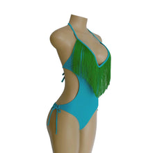 Load image into Gallery viewer, Deep V-neck Tassels Halterneck One-piece Swimwear