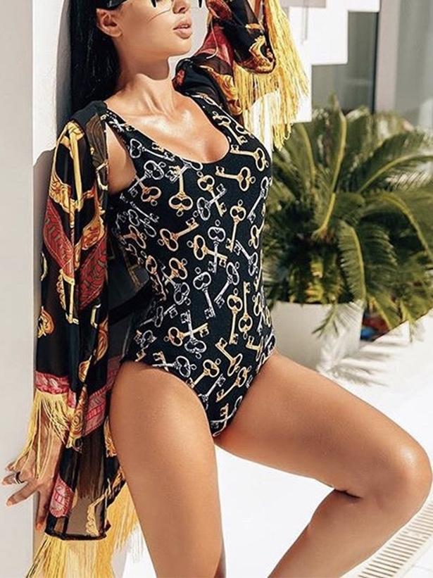 Keys Pattern Print One Piece Swimsuit