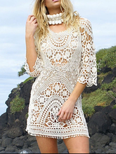 Load image into Gallery viewer, Sexy Openwork Lace Crocheted Halter Dress Sun Protection Bikini Blouse