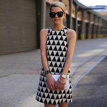 Load image into Gallery viewer, Sexy Sleeveless Triangle Black and White Print Mini Dress