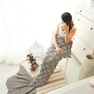 Oversized Fishtail Mermaid Tail Thickened Adult Knit Blanket