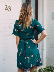 Floral V-neck A-line Wrap Mini Dress
