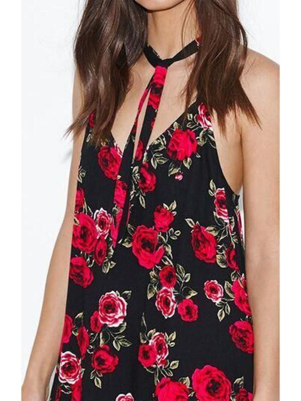 Sexy Floral Spaghetti Straps Halter Bohemia Beach Mini Dress