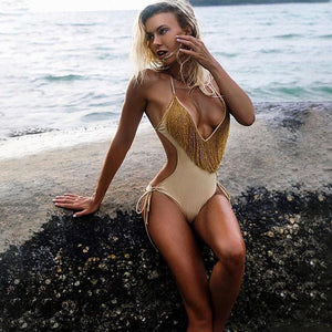 Deep V-neck Tassels Halterneck One-piece Swimwear