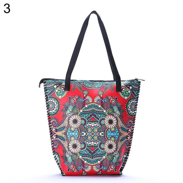 Vintage Women Mandala Flower Shopping Bag Large Capacity Pouch Tote with Handle