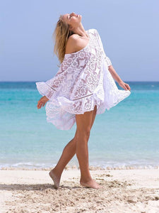 Bohemian White Beach Hollow Out Ruffles Bikini Cover-Up