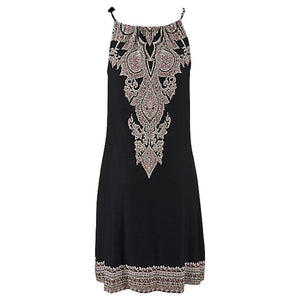 Halter Neck Boho Print Sleeveless Casual Mini Beach Sundress