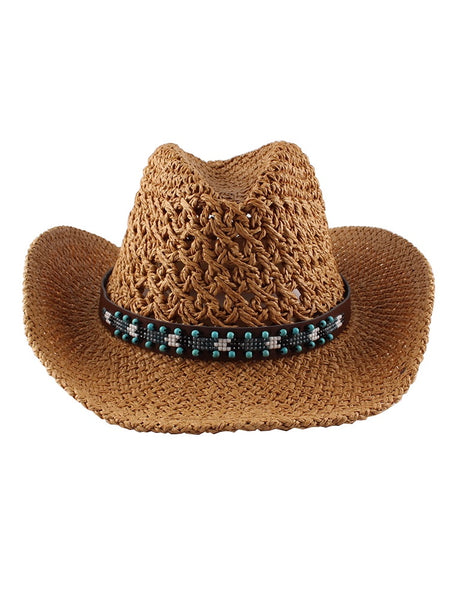 Spring And Summer Hand-woven Straw Hat With Hollow Curling Big Brim