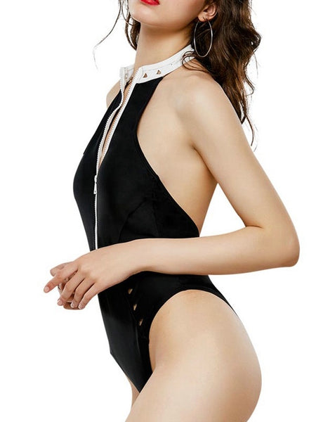 New Bikini Black and White Stand-up Collar Retro Zipper One-piece Swimsuit