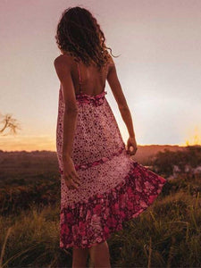Boho Summer Vintage Floral Print Ruffles Backless Beach Holiday Dress
