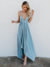 Load image into Gallery viewer, Deep V-Neck Solid Color Spaghetti-neck Maxi Dress
