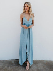 Deep V-Neck Solid Color Spaghetti-neck Maxi Dress