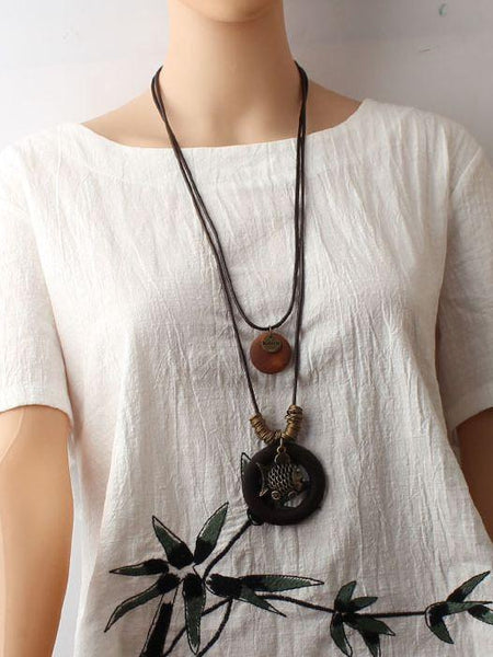 Hollow Fish Alloy Pendant Long Wax Rope Necklace Sweater Chain